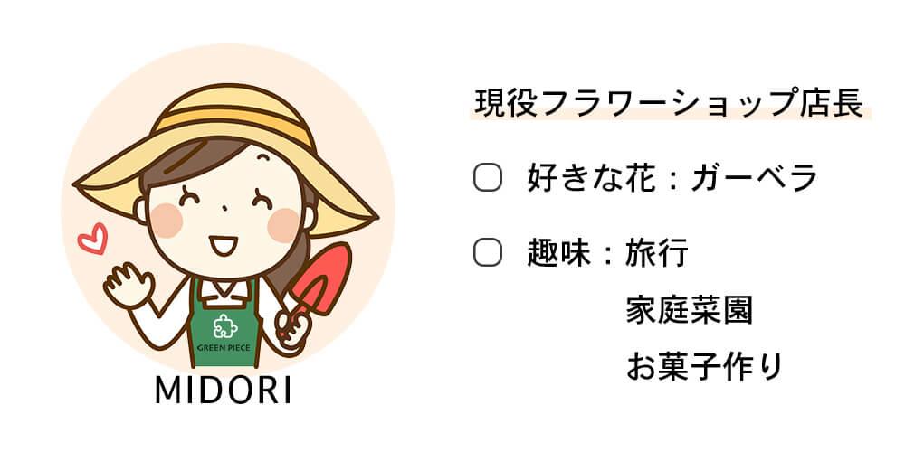 フラワーショップ店長【ミドリ】プロフィール